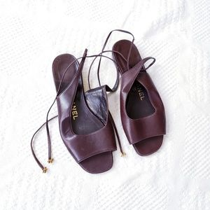CHANEL Brown Leather Tie Back Flat Sandal